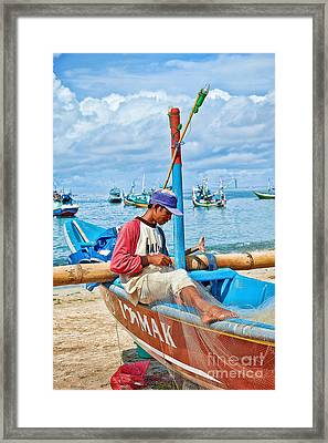 Framed Print featuring the photograph Fisherman by Yew Kwang