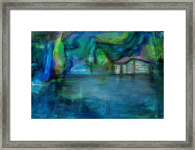 Framed Print featuring the digital art Fishermans Hut by Martina  Rathgens