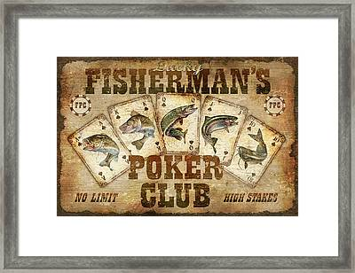 Fishermans Poker Club Framed Print by JQ Licensing