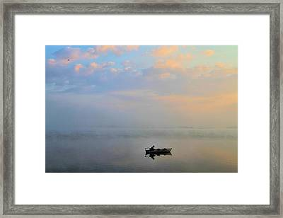 Fisherman's Solitude In Ohio Framed Print