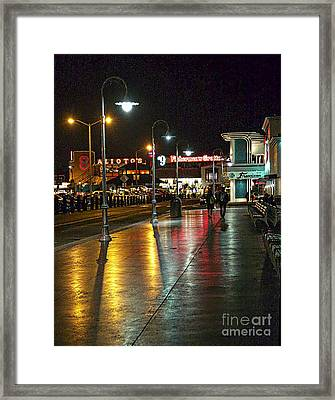 Fisherman's Wharf At Night Framed Print by Tina Araquistain