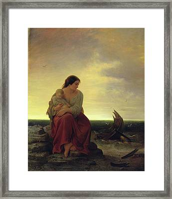 Fishermans Wife Mourning On The Beach Oil On Canvas Framed Print