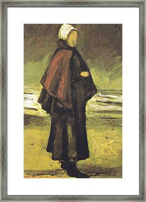 Fishermans Wife On The Beach Framed Print by Vincent Van Gogh
