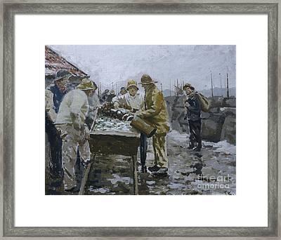Fishermen Around The Herring Cart Framed Print by Fredrik Kolstoe