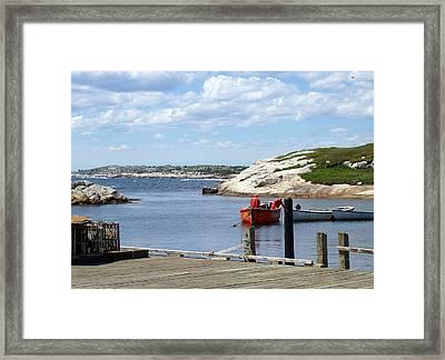 Fishermen At Peggy's Cove Framed Print by Brenda Anne Foskett