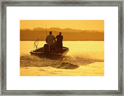 Fishermen Boating Toward The Laguna Framed Print by Larry Ditto