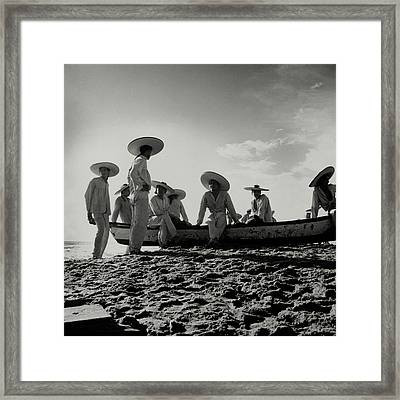 Fishermen On The Beach Of Pia De La Cuesta Framed Print