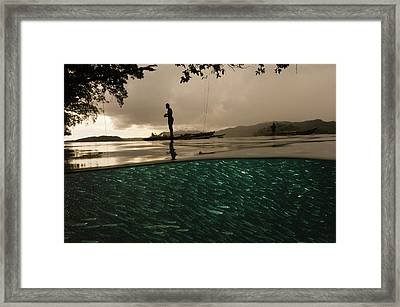 Fishermen Tie Their Outriggers To Trees Framed Print