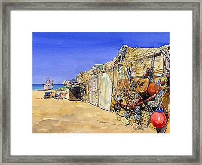 Fishermen's Huts At San Miguel Framed Print by Margaret Merry