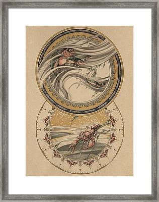 Fishes And Lobster Framed Print by Jules-Auguste Habert-Dys