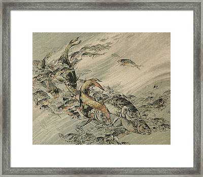 Fishes Framed Print by Jules-Auguste Habert-Dys