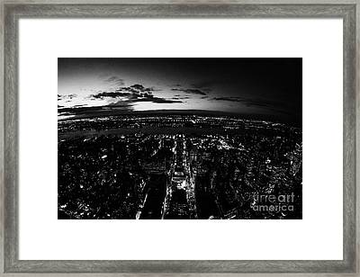 Fisheye Night View Of Manhattan West Towards Hudson River And One Penn Plaza New York City Framed Print by Joe Fox
