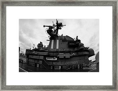 fisheye shot of the Flight deck island and bridges of the USS Intrepid at the Intrepid Sea Air Space Framed Print by Joe Fox