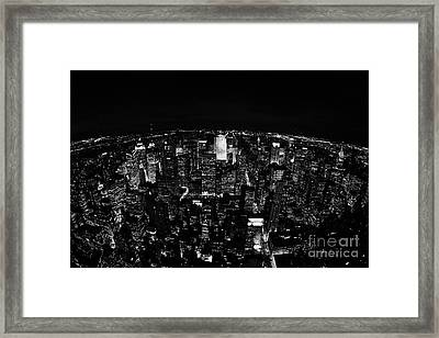 Fisheye View North At Night Towards Central Park New York City  Framed Print