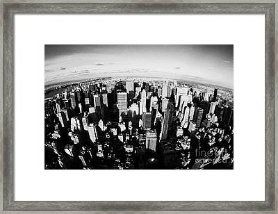 Fisheye View North Towards Central Park Manhattan New York City Usa Framed Print by Joe Fox
