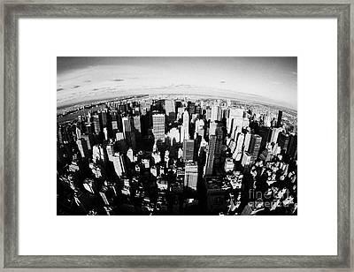 Fisheye View North Towards Central Park New York City Usa Framed Print by Joe Fox