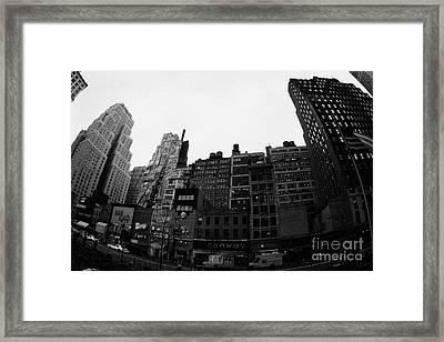 Fisheye View Of 34th Street From 1 Penn Plaza New York City Usa Framed Print