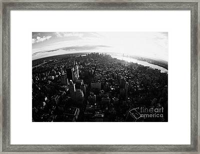 Fisheye View Of Sunset Over Lower Manhattan And Hudson River New York City Framed Print