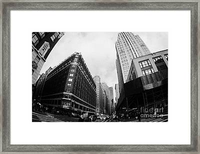 Fisheye View Of The Herald Square Building And Cross Walks Over Broadway New York Framed Print by Joe Fox