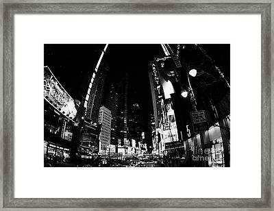 Fisheye View Of Times Square In Nighttime New York City Framed Print