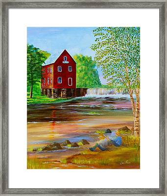Fishin' At The Old Mill Framed Print