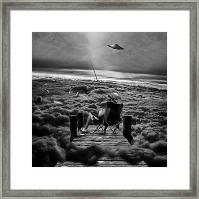 Fishing Above The Clouds Grayscale Framed Print