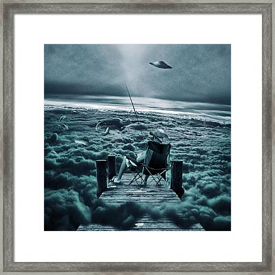Fishing Above The Clouds Framed Print by Marian Voicu