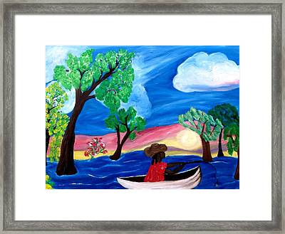 Framed Print featuring the painting Fishing Alone 2 by Mildred Chatman