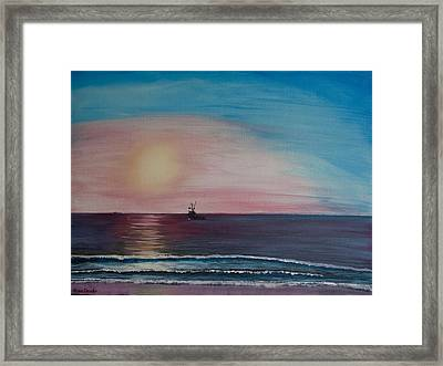 Framed Print featuring the painting Fishing Alone At Night by Ian Donley