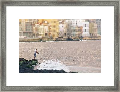 Fishing Along The Malecon.. Framed Print
