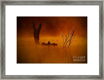 Fishing Among Nature Framed Print
