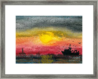 Fishing Among The Rigs Framed Print