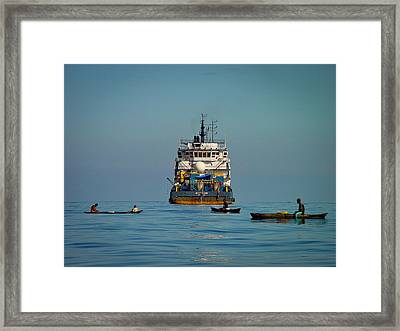 Fishing Around The Art Carlson On Anchor Framed Print