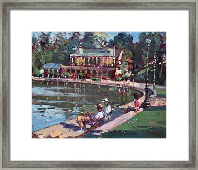 Fishing At Delaware Lake Buffalo Framed Print by Ylli Haruni