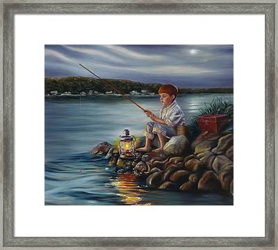 Fishing At Dusk Framed Print