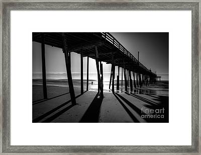 Fishing At Frisco Outer Banks Bw Framed Print by Dan Carmichael
