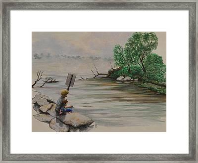 Fishing At Lake Palourde Framed Print