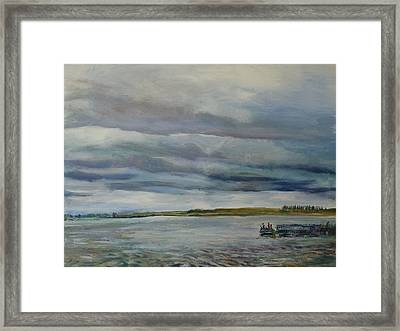 Fishing At Mcdowell Dam Framed Print by Helen Campbell