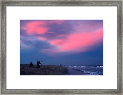 Fishing At Sandy Hook Nj Framed Print by Kellice Swaggerty