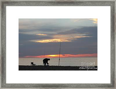 Framed Print featuring the photograph Fishing At Sunrise by Robert Banach