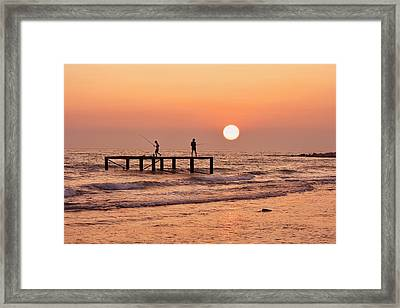 Fishing At Sunset. Framed Print by Alexandr  Malyshev