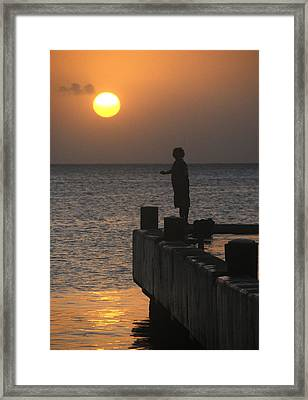 Framed Print featuring the photograph Fishing At Sunset by Paul Miller