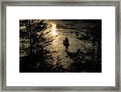 Fishing At Sunset - Thousand Islands Saint Lawrence River Framed Print