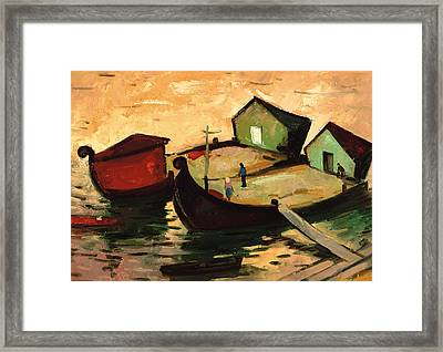 Fishing Barges On The River Sugovica Framed Print by Emil Parrag