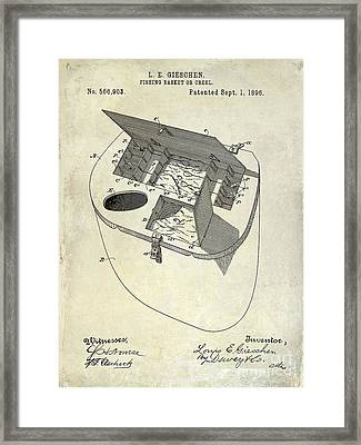 Fishing Basket Or Creel Patent Drawing Framed Print