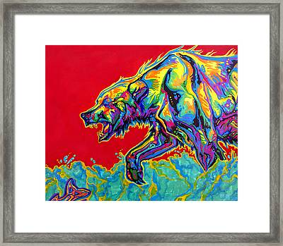 Fishing Bear Framed Print by Derrick Higgins