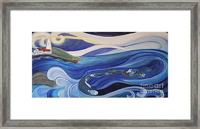 Fishing Before A Storm Framed Print