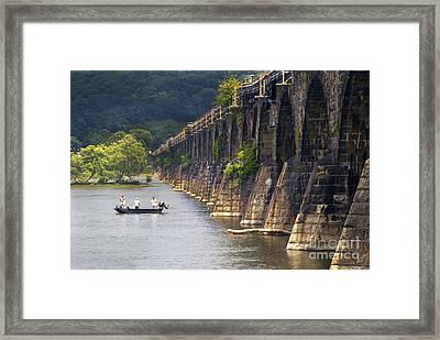 Fishing Below The Rockville Framed Print