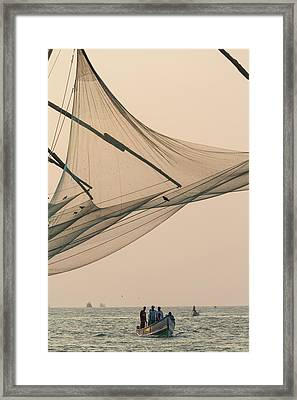 Fishing Boat And Chinese Fishing Nets Framed Print by Peter Adams