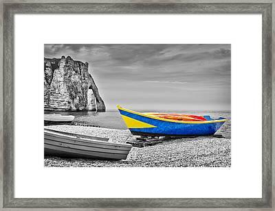 Fishing Boat At Etretat Framed Print